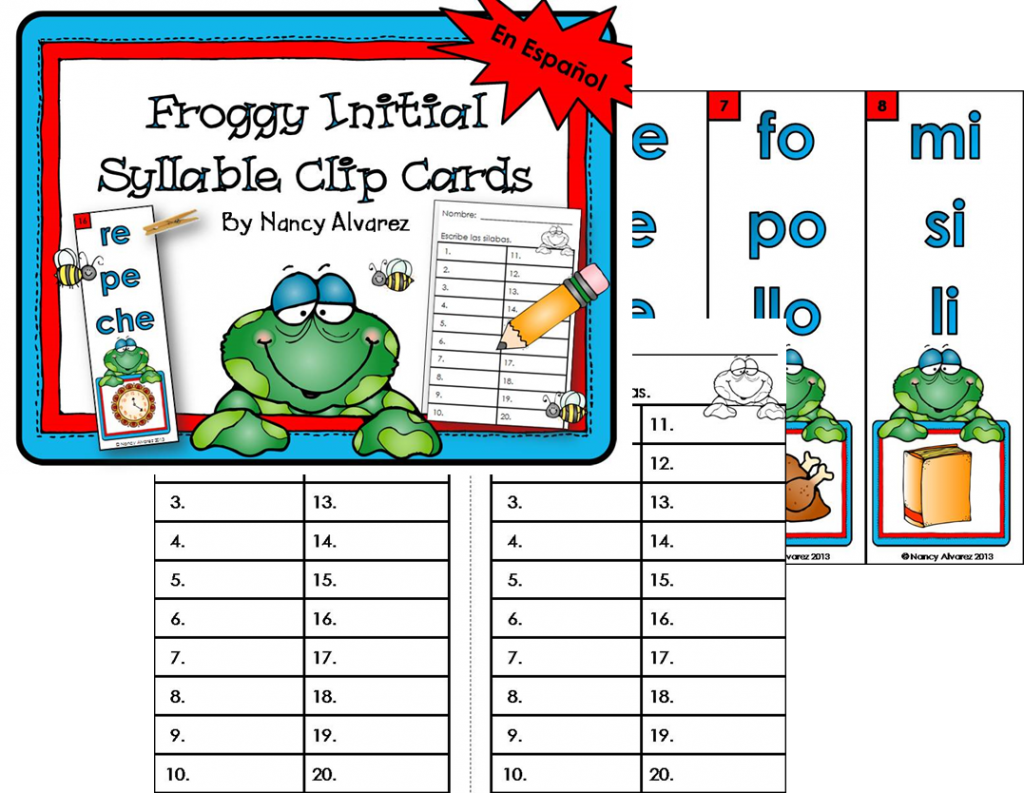 Spanish froggy initial syllable freebie