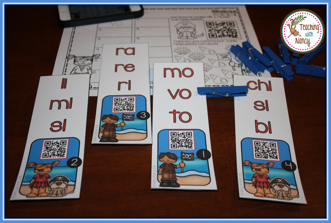 Spanish QR Code Word Work Stations