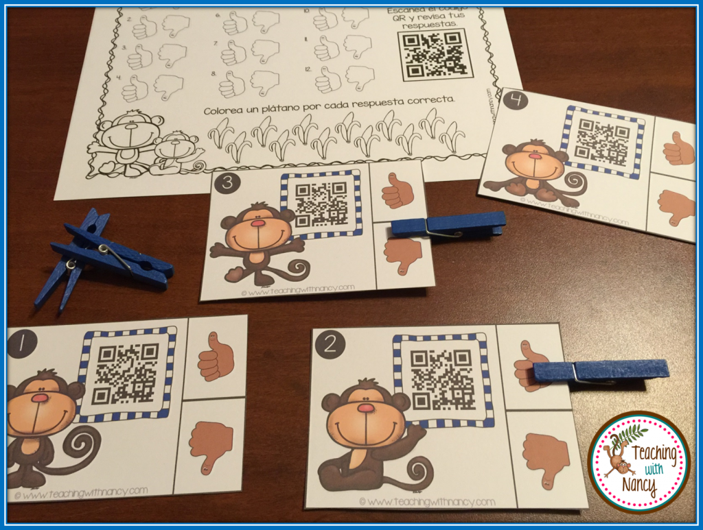 Monkey Spanish Initial Syllable QR Code Station