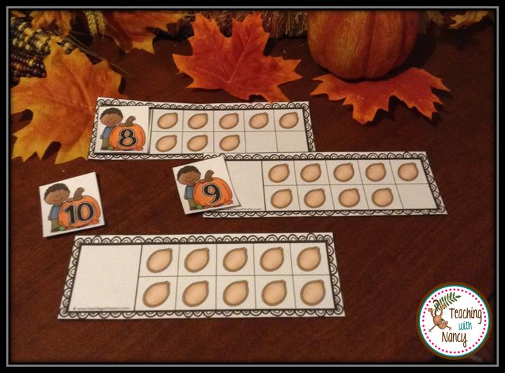 Fall Pumpkin Ten Frame Numeral Matching