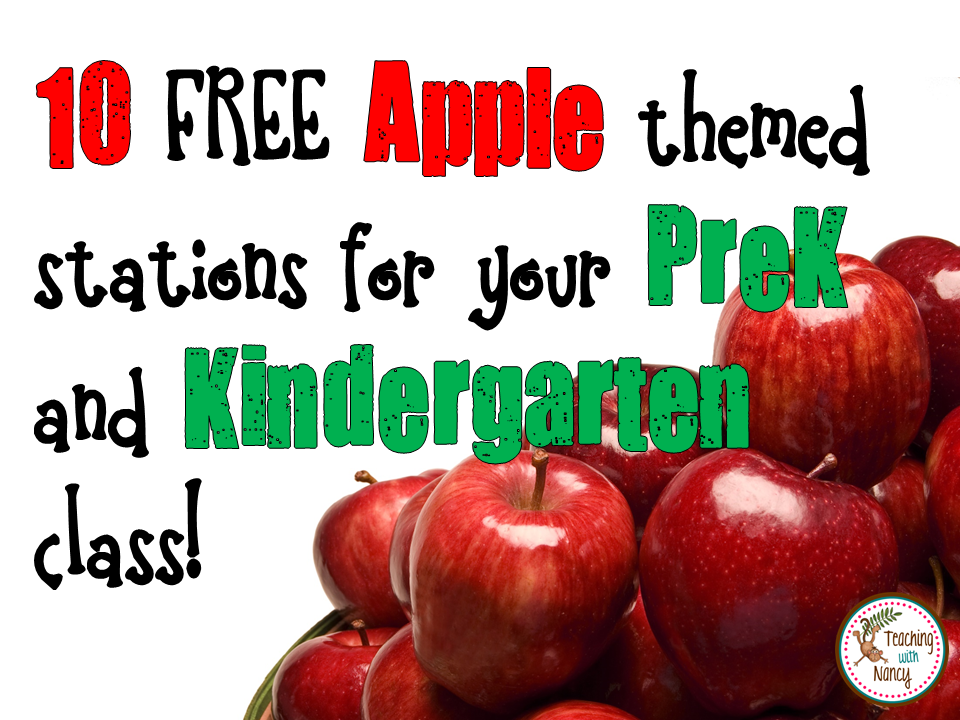 10 FREE Apple Themed Stations for Your PreK and Kindergarten Class