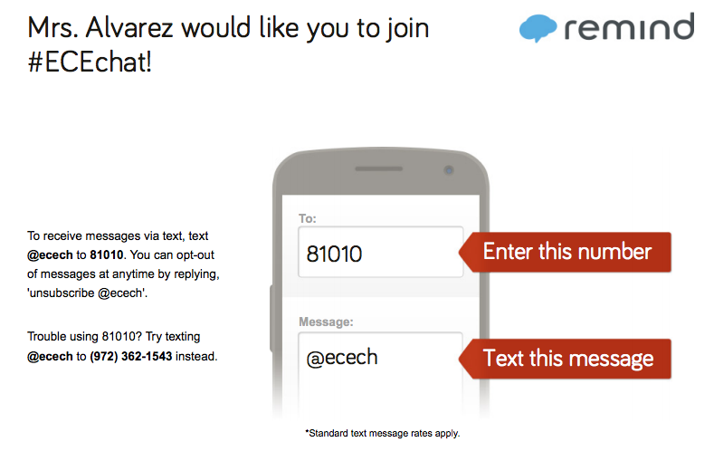 Remind sign up for ECEChat