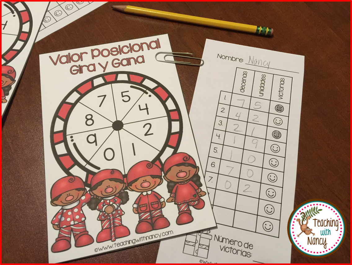 Spanish Christmas Place Value Spin and Win