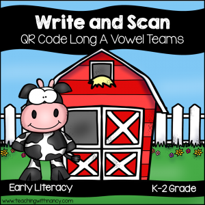 QR Code Write and Scan Long A Vowel Teams