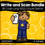 QR Code Write and Scan Long AEIOU Vowel Teams Bundle