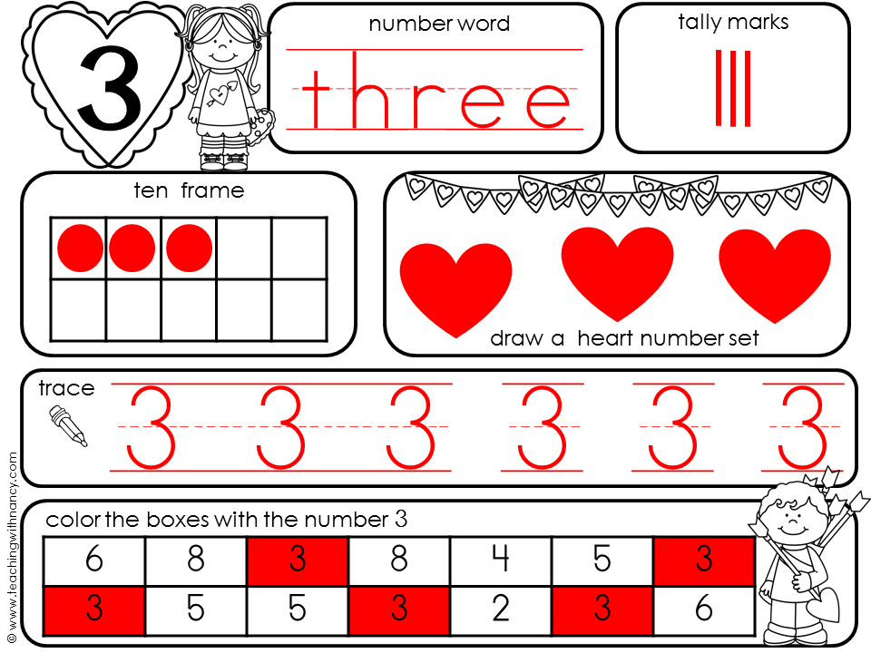 Valentine's Day 1-10 Number Book