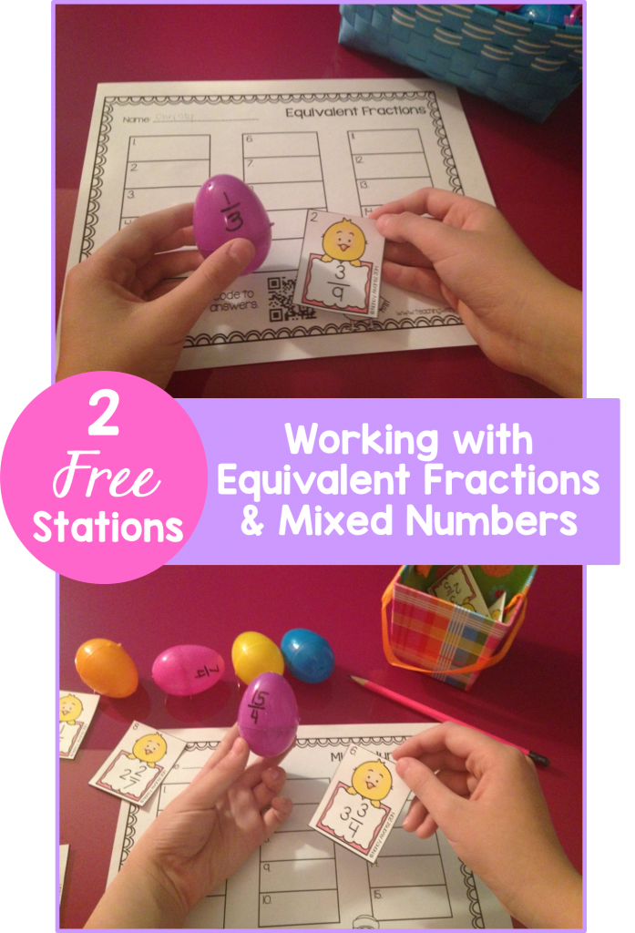 Free Spring Chick Fractions Stations Working with Equivalent Fractions and Mixed Numbers