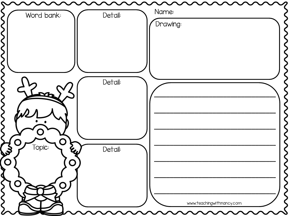 Free Christmas Writing Organizers in English and Spanish