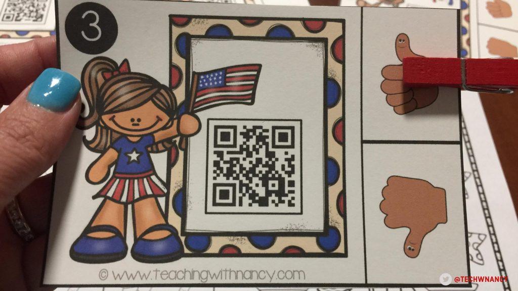 Free Patriotic QR Code Rhyming Activities | Teaching with Nancy